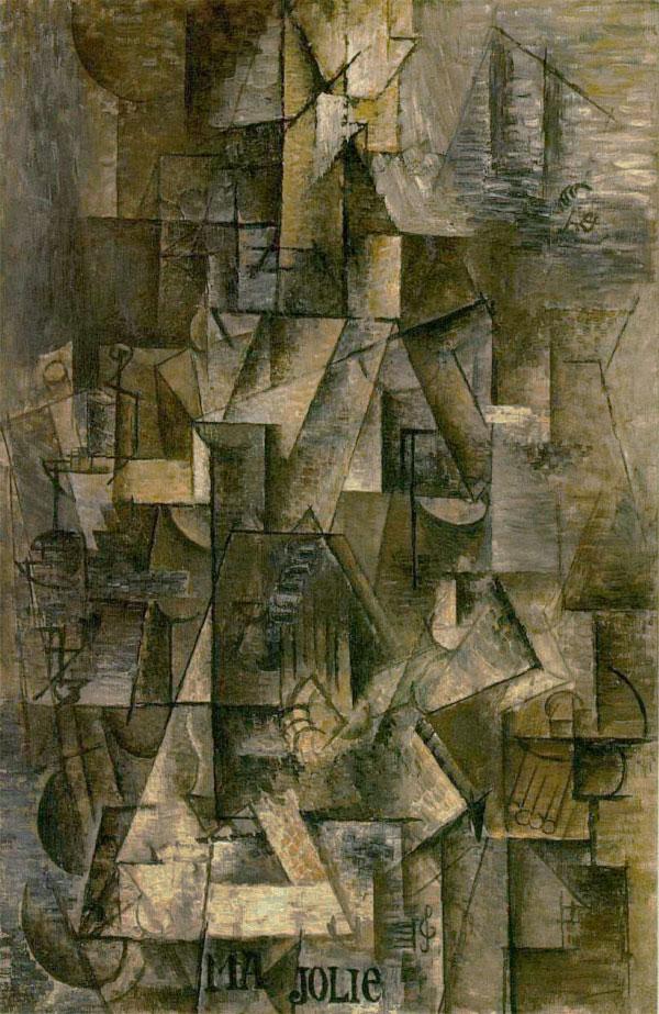 Картина Пабло Пикассо. Ма Джоли (Женщина с гитарой). 1911-1912