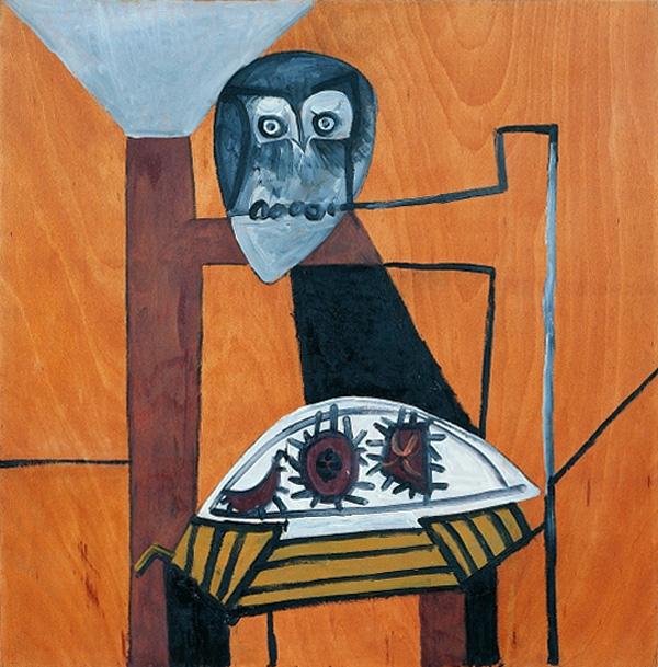 Картина Пабло Пикассо. Натюрморт с совой и морскими ежами. 1946