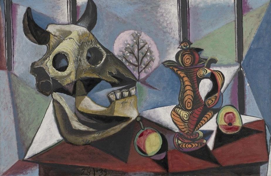 Картина Пабло Пикассо. Череп быка, фрукты, кувшин. 1939