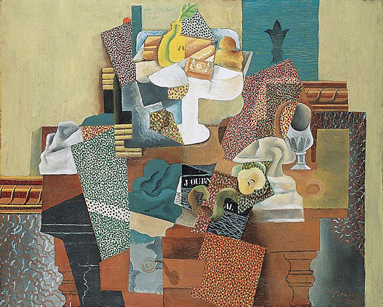 Картина Пабло Пикассо. Натюрморт с фруктами на столе. 1915