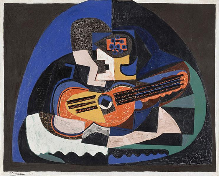 Картина Пабло Пикассо. Натюрморт с гитарой и компотом (Мандолина). 1923