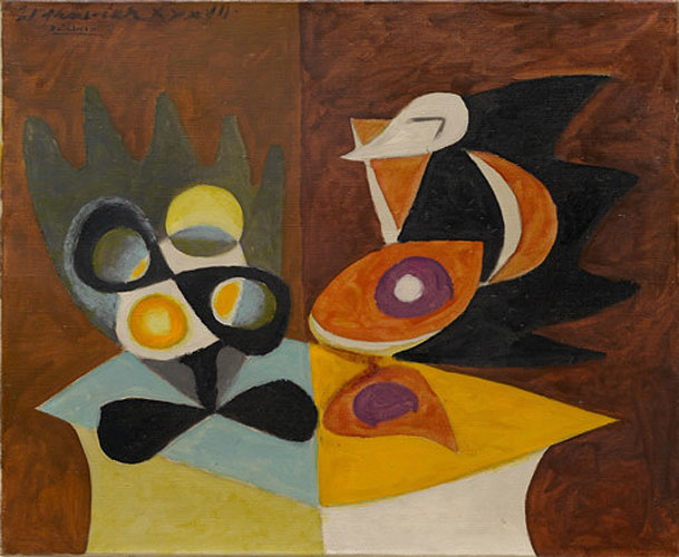 Картина Пабло Пикассо. Натюрморт: блюдо с фруктами и кувшин. 1937