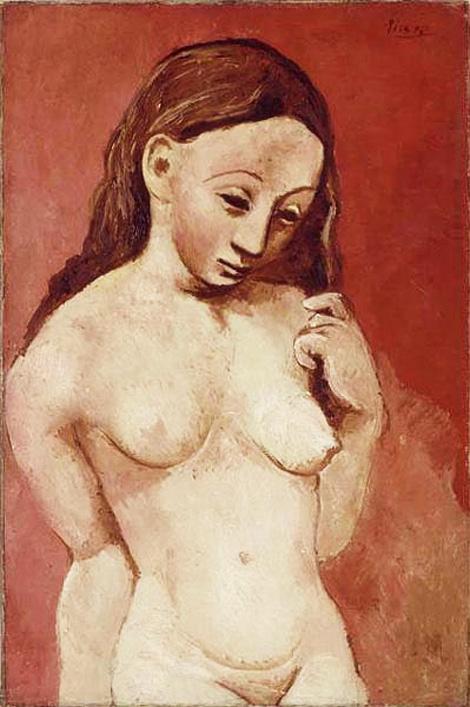 Картина Пабло Пикассо. Обнаженная на красном фоне. 1906