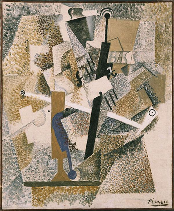 Картина Пабло Пикассо. Трубка, скрипка, бутылка Басс. 1914