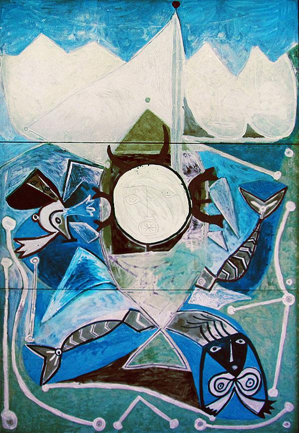 Картина Пабло Пикассо. Уллис и сирены. 1947