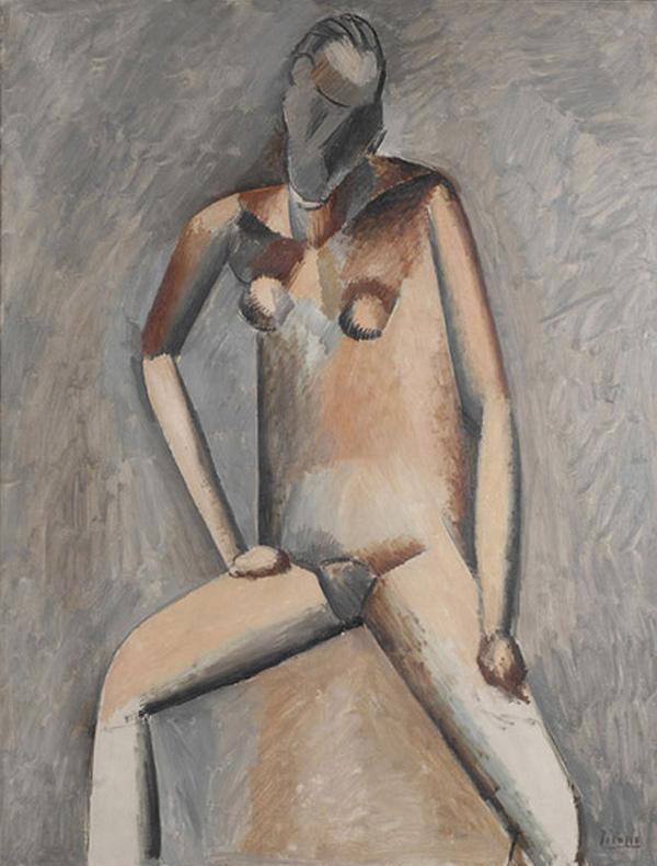 Картина Пабло Пикассо. Сидящая обнаженная. 1909