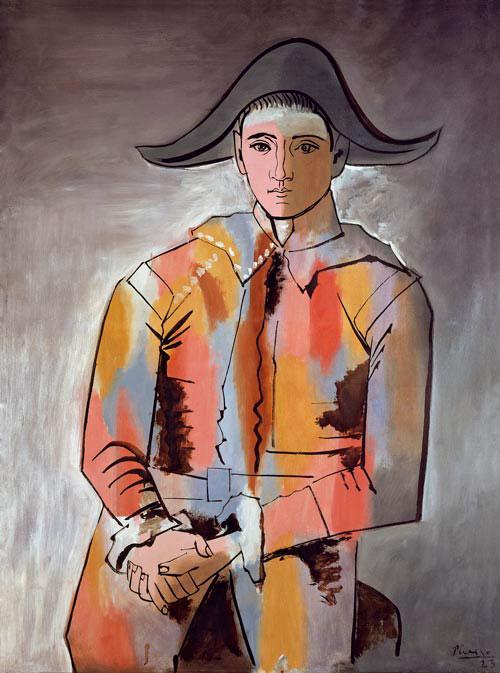 Картина Пабло Пикассо. Арлекин, сложивший руки. 1923