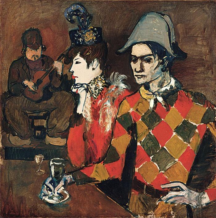 Картина Пабло Пикассо. В кабаре Лапин Агиль, или Арлекин с бокалом. 1905