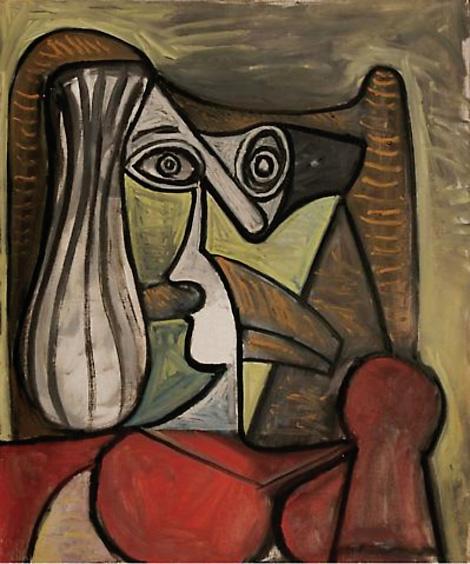 Картина Пабло Пикассо. Женщина, сидящая в кресле. 1949