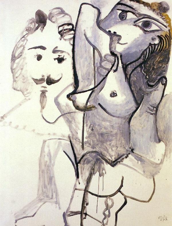 Картина Пабло Пикассо. Обнаженная и голова мужчины. 1967