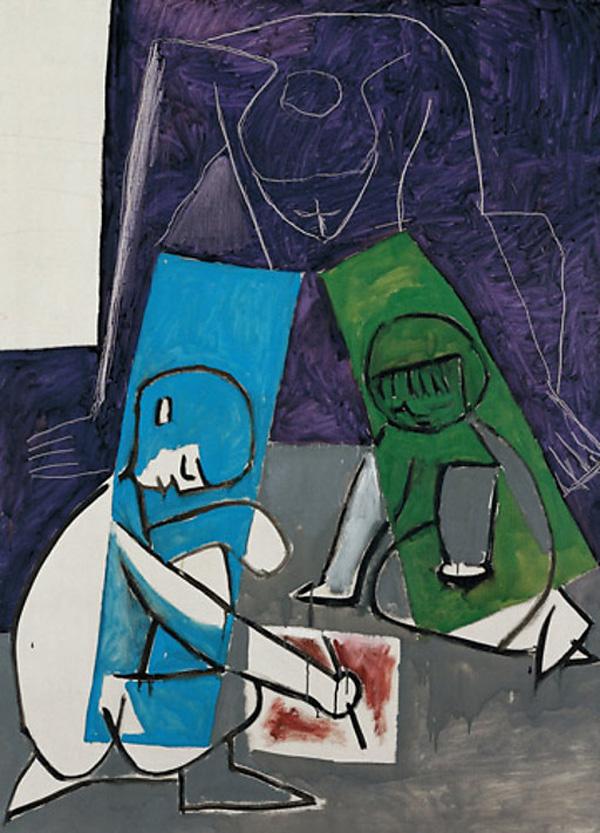 Картина Пабло Пикассо. Женщины и дети, рисование. 1954