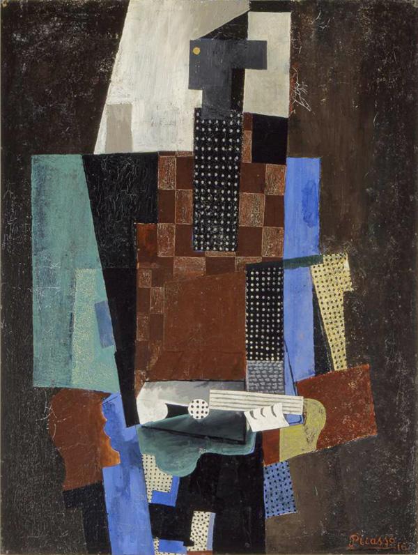 Картина Пабло Пикассо. Гитарист. 1916