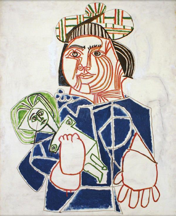 Картина Пабло Пикассо. Ребенок в шотландском берете. 1953