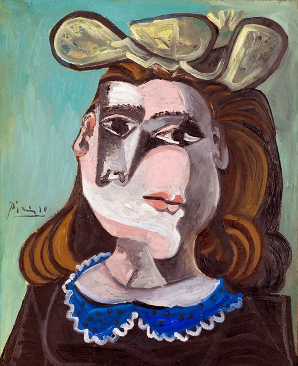 Картина Пабло Пикассо. Женщина с синим воротником. 1941