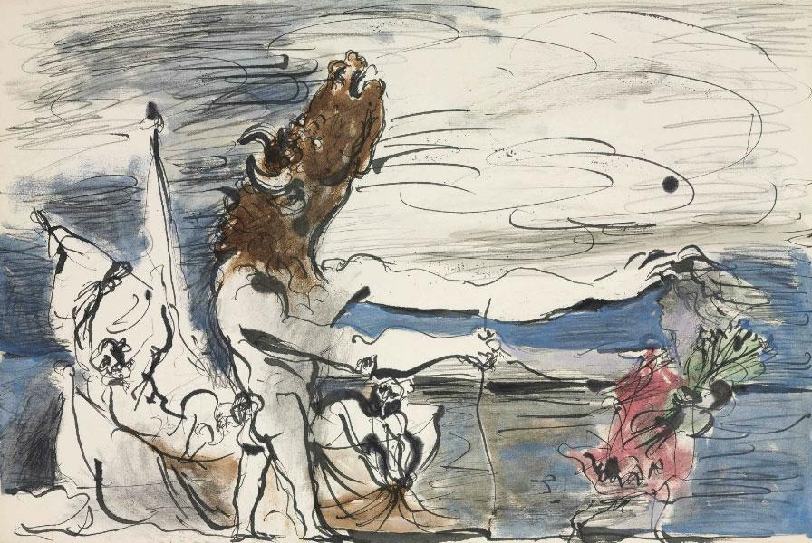 Картина Пабло Пикассо. Слепой Минотавр ведомый маленькой девочкой. 1934 ($4,5 млн)