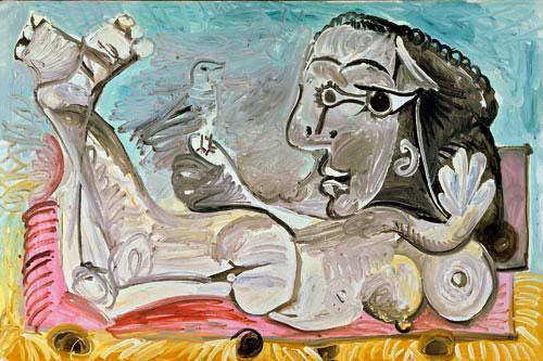 Картина Пабло Пикассо. Лежащая обнаженная с птицей. 1968