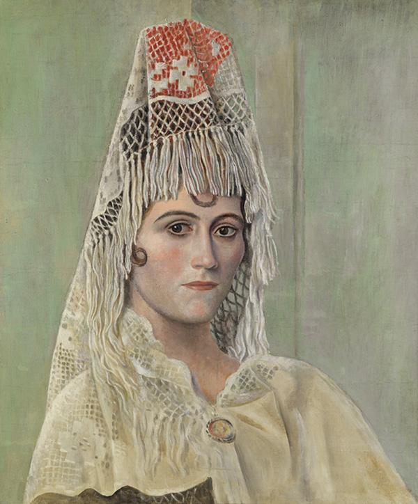 Картина Пабло Пикассо. Ольга Хохлова в мантилье. 1917