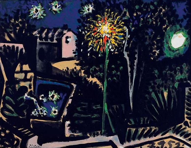 Картина Пабло Пикассо. Пейзаж. Валлорис ночью. 1952
