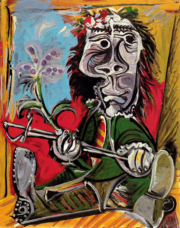 Картина Пабло Пикассо. Мужчина со шпагой и цветком. 1969