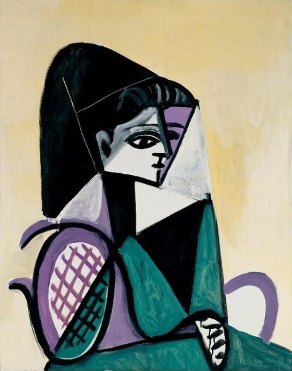 Картина Пабло Пикассо. Портрет женщины в зеленом платье. 1956
