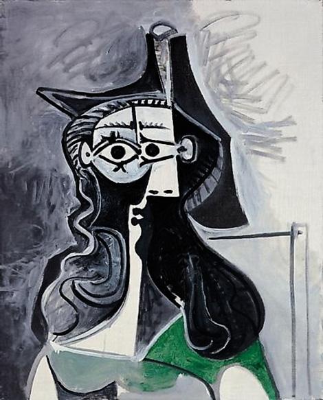 Картина Пабло Пикассо. Портрет женщины в зеленом платье. 1961