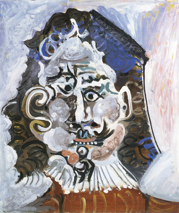 Картина Пабло Пикассо. Портрет человека 17 века анфас. 1967