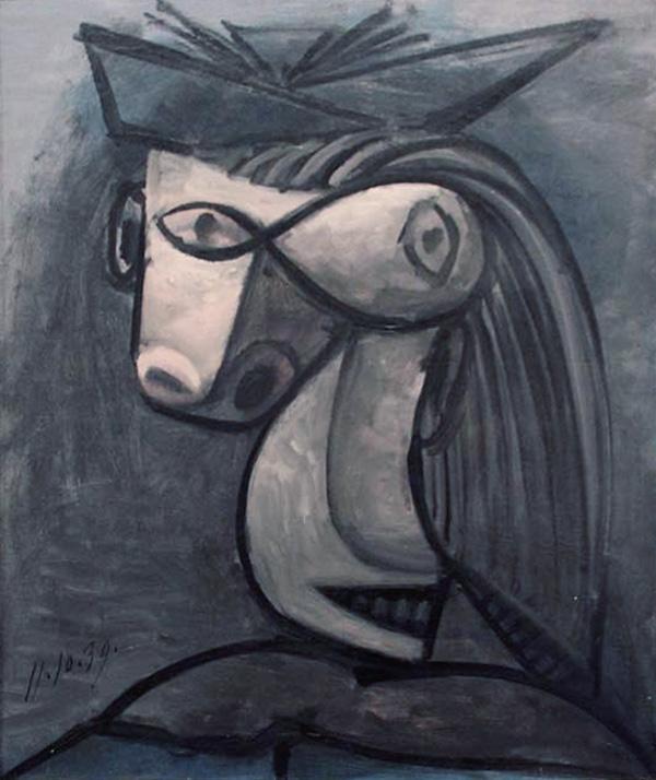 Картина Пабло Пикассо. Голова женщины в шляпе (Дора Маар). 1939