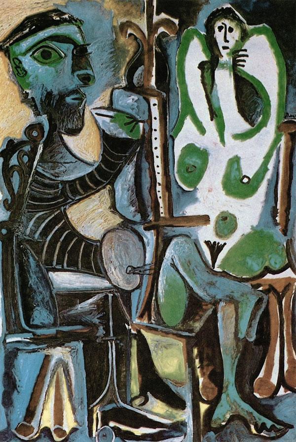 Картина Пабло Пикассо. Художник и его модель. 1963