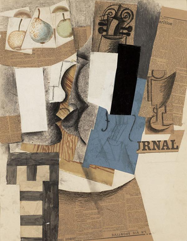 Картина Пабло Пикассо. Чаша с фруктами, скрипка и бокал. 1913