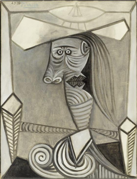 Картина Пабло Пикассо. Бюст сидящей женщины. 1938