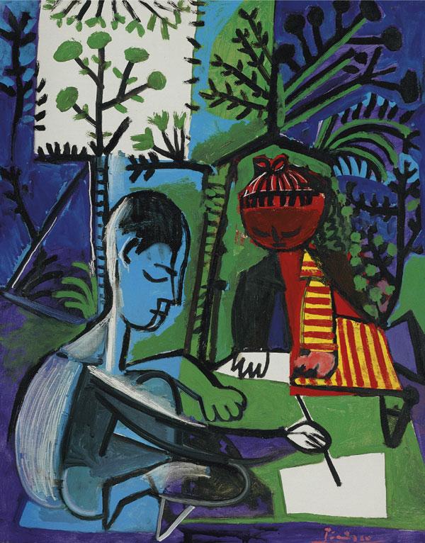 Картина Пабло Пикассо. Рисующие Клод и Палома. 1954 ($8,9 млн)