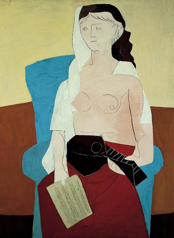 Картина Пабло Пикассо. Женщина с мандолиной. 1925