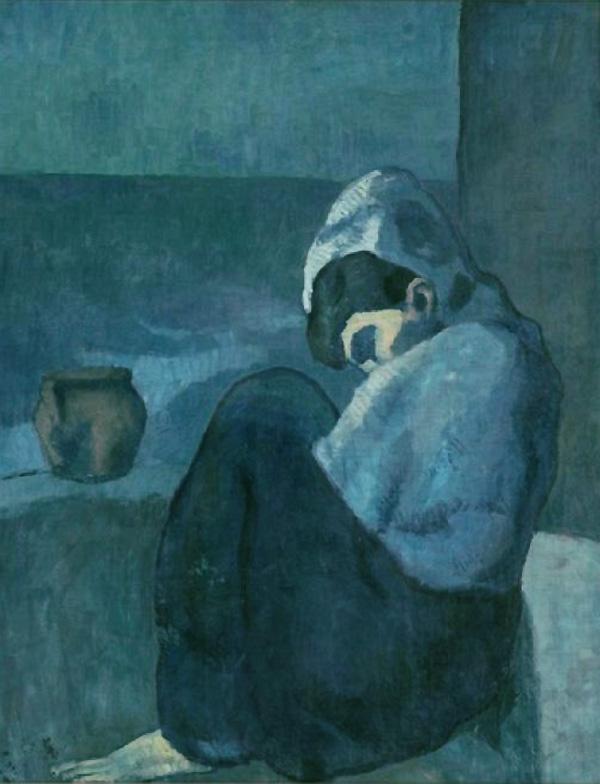 Картина Пабло Пикассо. Сидящая женщина в капюшоне. 1902
