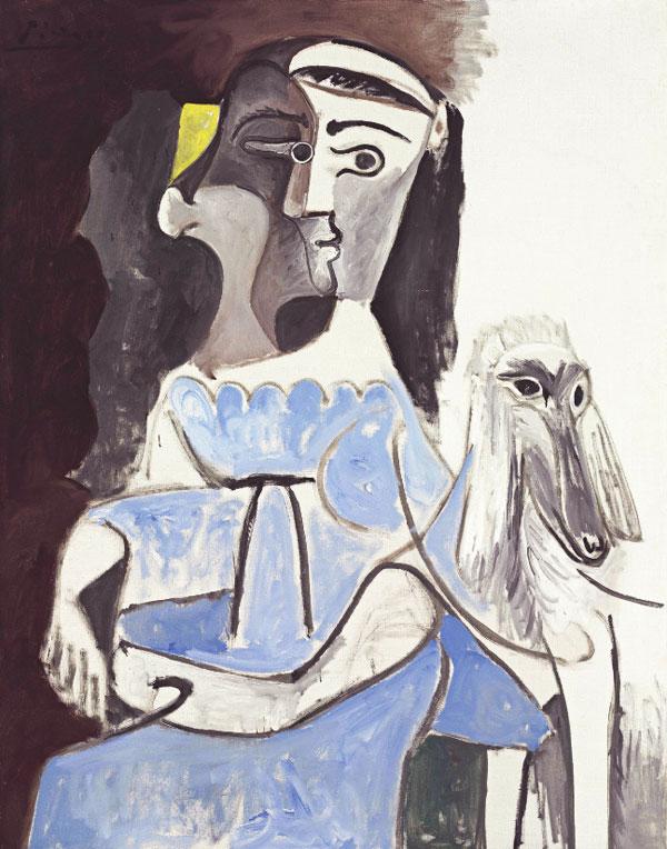 Картина Пабло Пикассо. Женщина с собакой. 1962 ($6,4 млн)