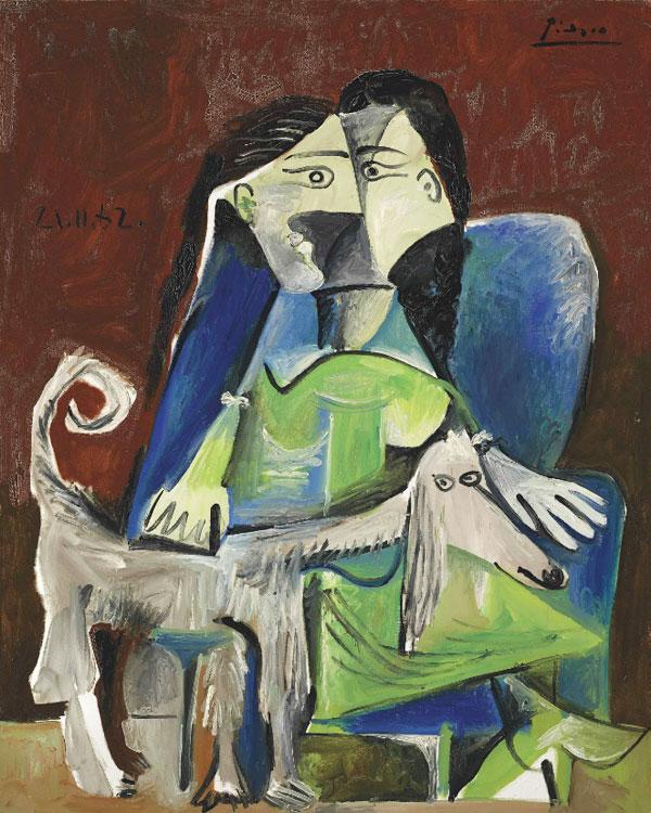 Картина Пабло Пикассо. Женщина с собакой. 1962 ($10,9 млн)