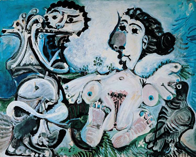 Картина Пабло Пикассо. Обнаженная женщина с птицей и флейтист. 1967