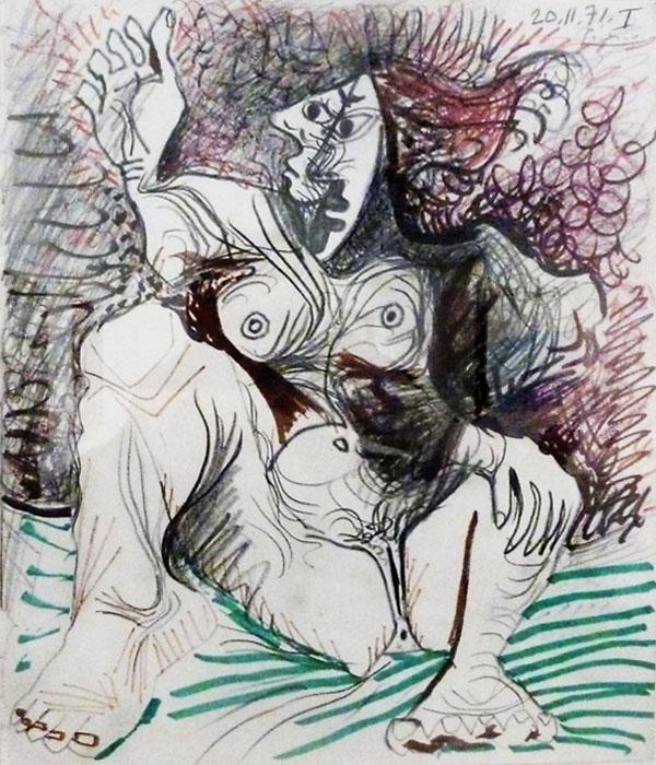 Картина Пабло Пикассо. Сидящая обнаженная женщина. 1971