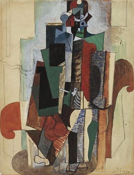 Картина Пабло Пикассо. Человек с трубкой, сидящий в кресле. 1916 ($4,7 млн)