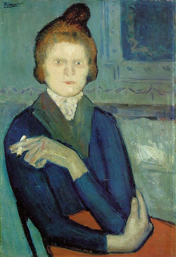 Картина Пабло Пикассо. Молодая женщина с сигаретой. 1901