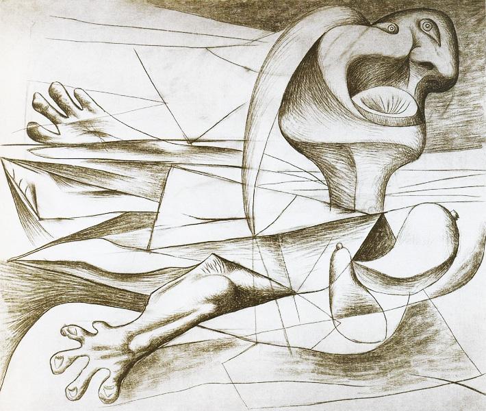 Картина Пабло Пикассо. Пловчиха. 1934