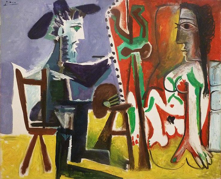 Картина Пабло Пикассо. Художник и модель. 1963