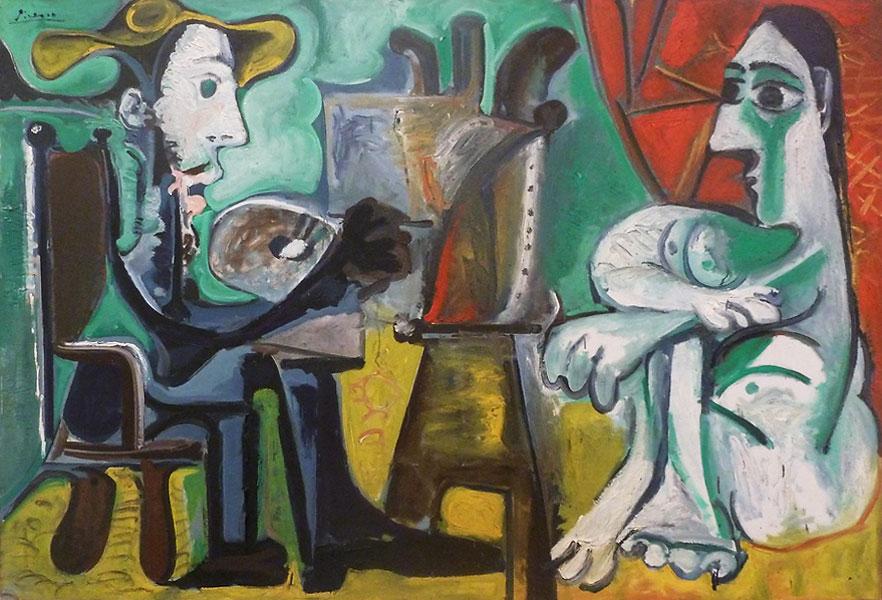 Картина Пабло Пикассо. Художник и модель 2. 1963