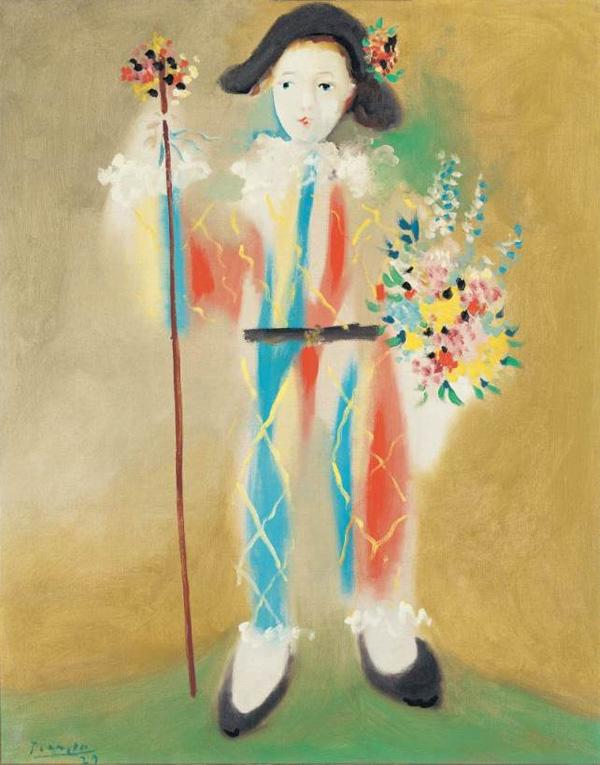 Картина Пабло Пикассо. Маленький Пьеро с цветами. 1924