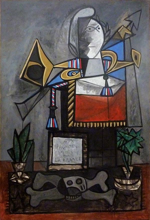Картина Пабло Пикассо. Памятник испанцам,  погибшим за Францию. 1946-1947