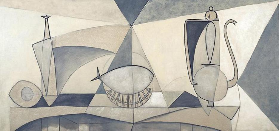 Картина Пабло Пикассо. Натюрморт с бутылкой, солонкой и кувшином. 1946