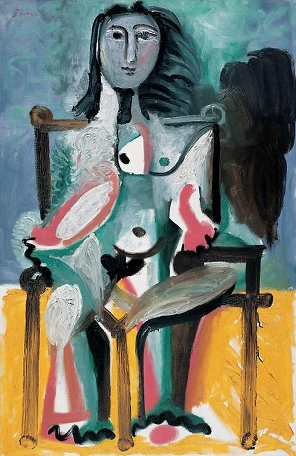 Картина Пабло Пикассо. Обнаженная, сидящая в  кресле. 1963