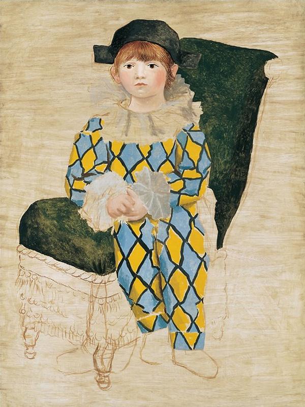Картина Пабло Пикассо. Поль в костюме Арлекина. 1924