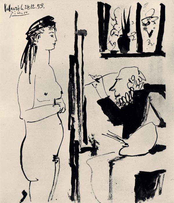 Картина Пабло Пикассо. Художник и модель. 1953