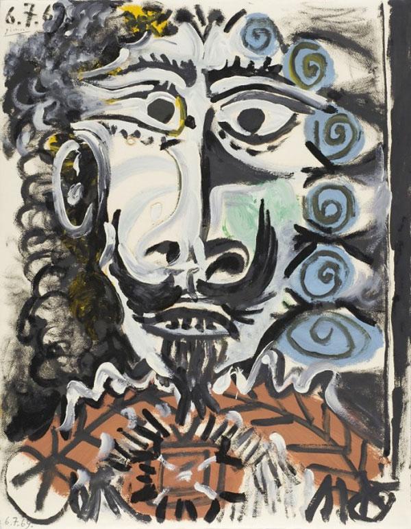 Картина Пабло Пикассо. Голова мужчины. 1969