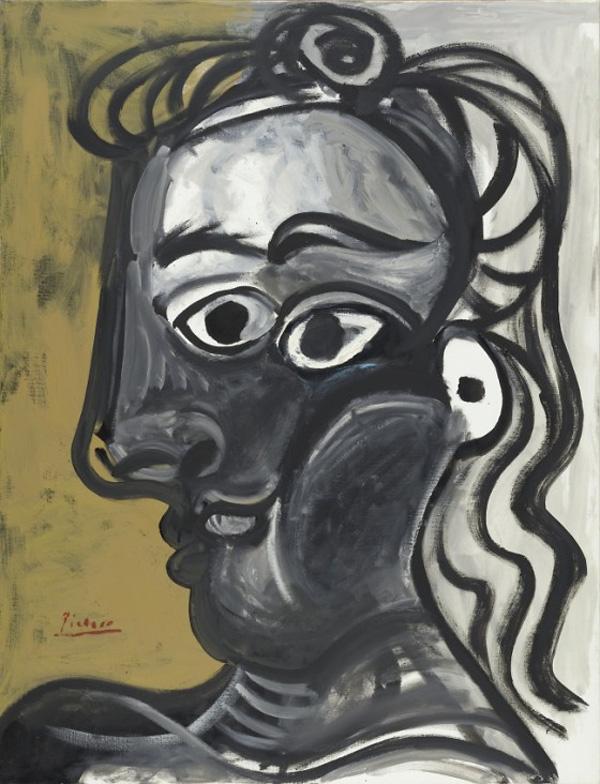 Картина Пабло Пикассо. Голова женщины в профиль (Жаклин). 1970